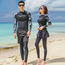 купить Rhyme Lady couples long sleeve rash guard three pieces long pants beachwear sun protective swimsuit surfing clothes for lovers дешево