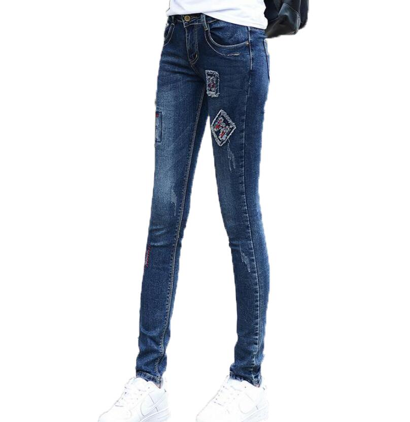 Pattern Embroidery Jeans Women Full Length Trousers Plus Size Casual High Waist Skinny Ripped Pancil Pants