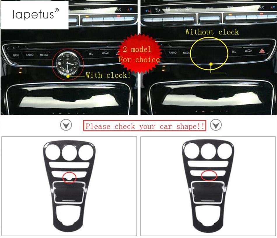Lapetus Accessories For Mercedes Benz C Class W205 GLC C253 2015 2018 Carbon Fiber Style Stalls Gearshift Box Frame Cover Trim