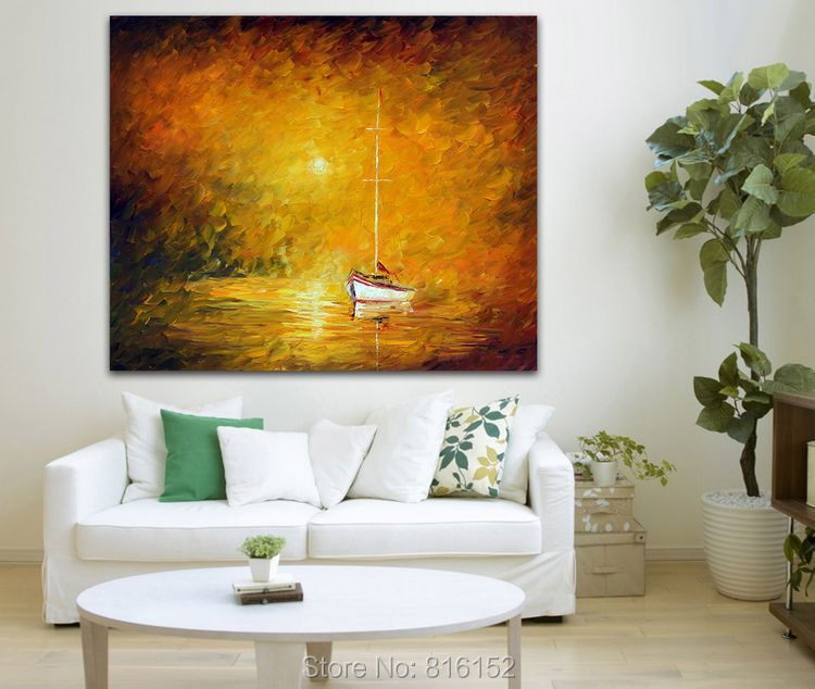 In The Warm Fog Acrylic Painting Knife Yellow Wall Art On Canvas Print Home Decor