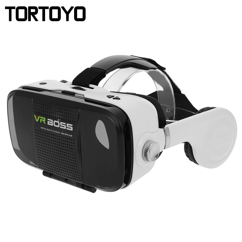 VR BOSS 3D VR Glasses Virtual Reality Headset Head-Mounted 3D VR Box Case with HIFI Stereo Bass Headphone for 4-6.3″ Smart Phone