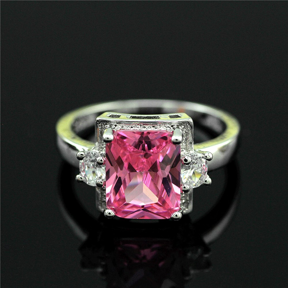 The new set big pink stones restoring ancient ways ring 925 sterling silver ring The European and American wind ring ...