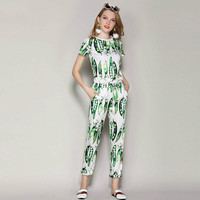 OLN Women Sets 2018 Summer Tops Pants Suits Two Pieces Occident Female 2 Pcs Runway Designer