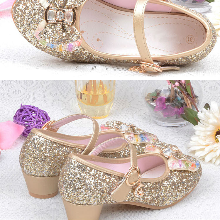 1_122016 spring Kids Girls High Heels For Party Sequined Cloth Blue pink Shoes Ankle Strap Snow Queen Children Girls Pumps Shoes