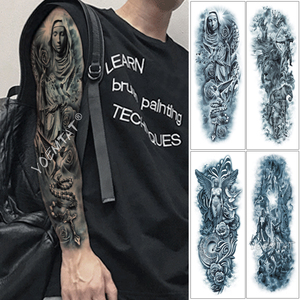 Large Arm Sleeve Tattoo Rose Rosary Virgin Mary Waterproof Temporary Tattoo Sticker Saint Angel Men Full Skull Totem Tatoo