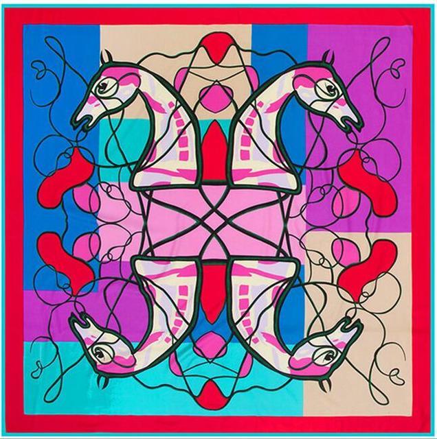 Новые Четыре Лошади Голова Цифровой Печати Pattern Женщины Люкс 100% Чистого Шелка Саржевого Foulards Шаль Мягкие Шарфы Осень Пашмины