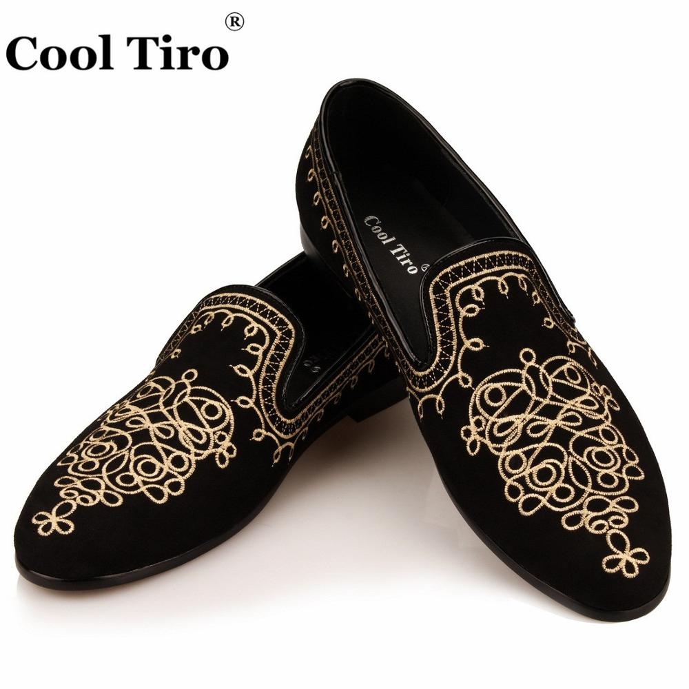 Cool Tiro Embroidery Ethnic style Loafers Men Moccasins Slippers Black suede Men s Dress Shoes Party