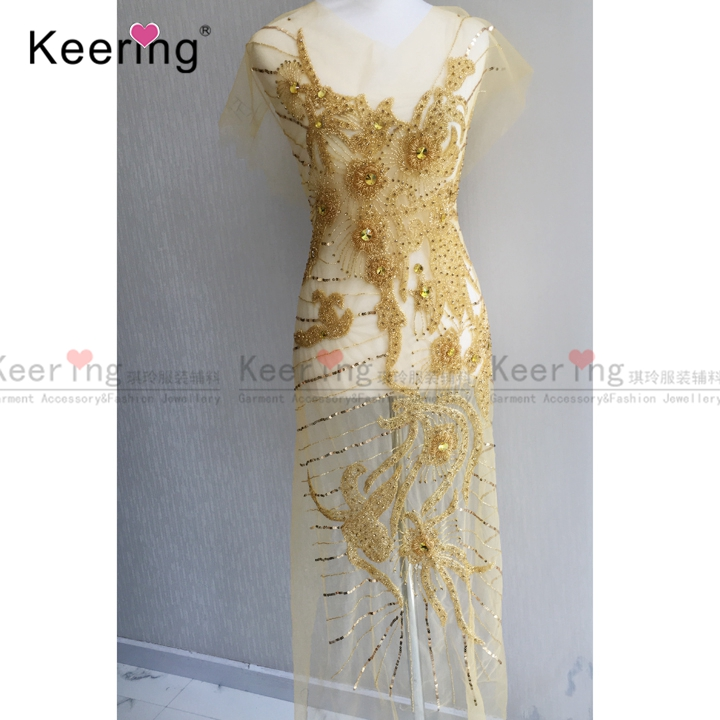 Keering large size hand made rhinestone patch for wedding dress ornaments free shipping WDP 099