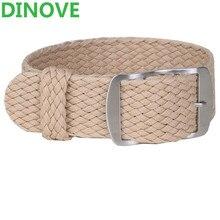 DINOVE 1 UNIDS/Moda Al Por Mayor de Nylon Tejido De Perlón Tirantes Beige Colores 20mm Correa de Reloj 20 MM 22mm