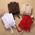 Albornoz de algodón hombres de las mujeres de los amantes de espesamiento bata de dormir camisón para niñas manta toalla suave larga tallas grandes otoño invierno