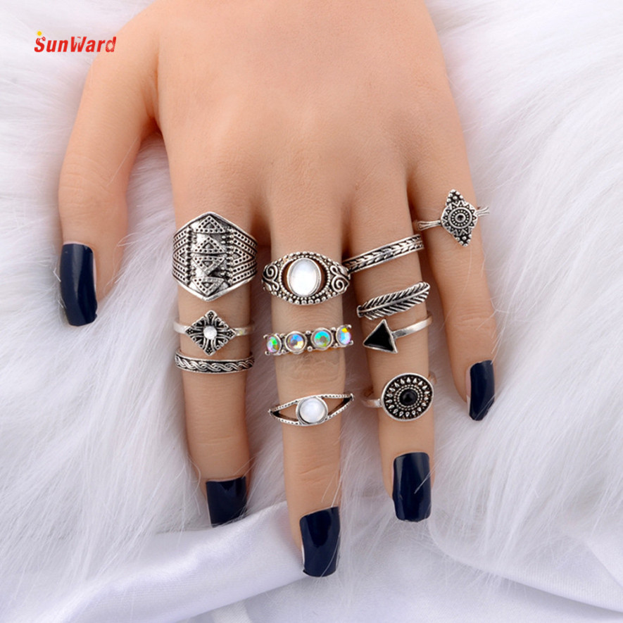 OTOKY 10pcs/Set Knuckle Alloy Rings Set Antique Midi Finger Rings for Women Steampunk Turkish Party Boho Knuckle Ring