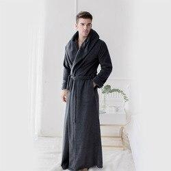 Мужские длинные халаты из микрофибры, флисовые, длина до пола размера плюс, халаты, одежда для сна, домашняя одежда, ночная рубашка, пижама, н...