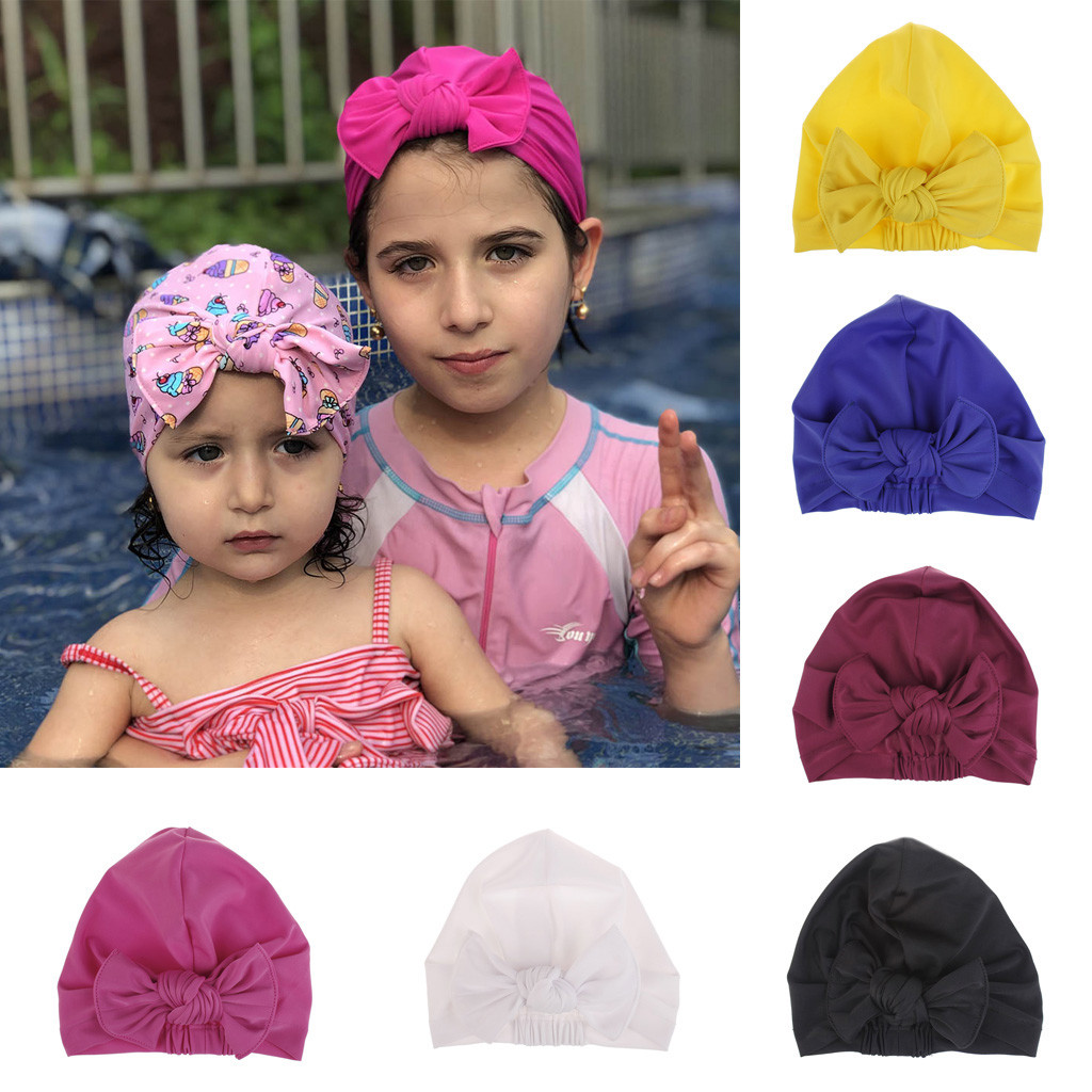 Children's Swimming Cap Cartoon Bow Print Swimming Hat Waterproof Stretch Swimming Cap A1