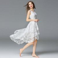 White Floral Printed Organza Lace Summer Dress 2017 Vestidos de Verano Beach Dress Plus Size XL Sexy Sleeveless Ladies Dresses