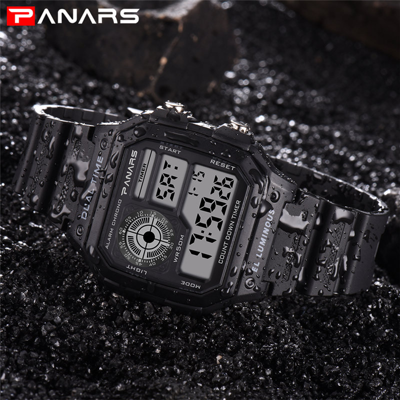 цена на PANARS Sports Watch Men's Wristwatch Digital Wrist Watch Military Electronic Wristwatches Zegarki Meskie LED 50M Water Resistant