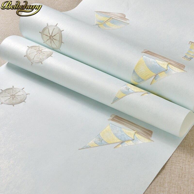 Beibehang Phare de la voile étoiles Méditerranée papel de parede 3d papier peint au mur garçon enfants chambre papiers peints décor à la maison