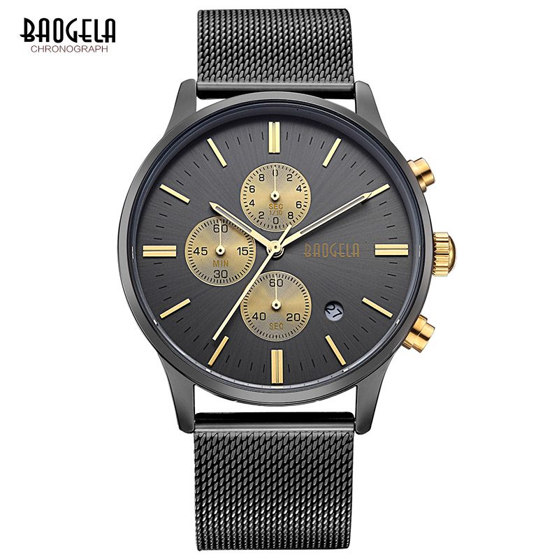 BAOGELA Chronograph men quartz watch stainless steel mesh band gold watches Slim men watches Multi-function sports Wristwatch fashion men s casual quartz watch stainless steel mesh band gold watch slim men watches multi function sports watches relogio