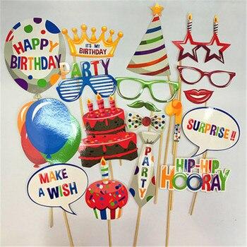 94102f711ad7 Accesorios para fotos de dibujos animados de 18 piezas decoraciones para  fiestas de cumpleaños de niños suministros para gafas de labios
