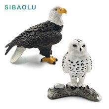 Simulation Forest Bald eagle Snowy Owl Figures Miniature Animal Model bird Figurine fairy Plastic craft Decoration Home decor