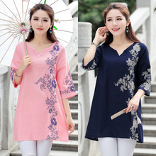 2018 New Summer Ethnic Retro Floral Embroidered Cotton V-neck Boho Three Quarter Sleeve Blouse Vintage Tops Femininas Blusa