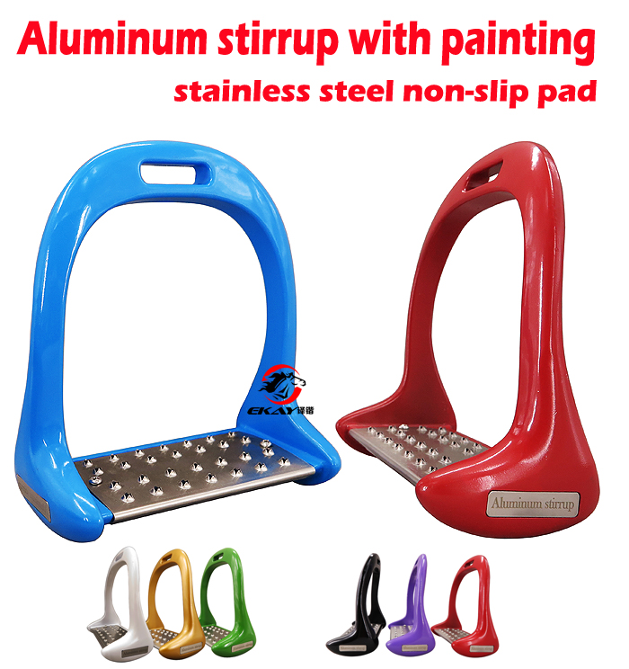 "Free Shipping Aluminum Stirrup With Stainless Steel Anti-slip Pad ,size:4 3/4"",Horse Stirrup(ST3118)(China)"