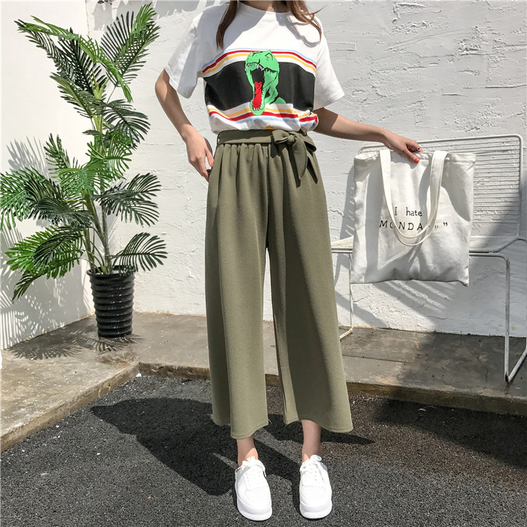 19 Women Casual Loose Wide Leg Pant Womens Elegant Fashion Preppy Style Trousers Female Pure Color Females New Palazzo Pants 23