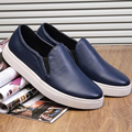 ASDS new men lazy shoes casual round toe leather