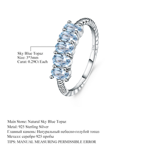 Image 5 - GEMS BALLETT Klassische 1,47 ct Oval Natürliche Sky Blue Topaz Stapelbar Finger Ring Für Frauen Hochzeit 925 Sterling Silber Feine schmuck