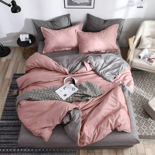 2019 New AB bên bộ đồ giường rắn đơn giản bộ đồ giường thiết lập Hiện Đại duvet cover set vua nữ hoàng đầy đủ giường đôi linen ngắn gọn giường tấm phẳng bộ