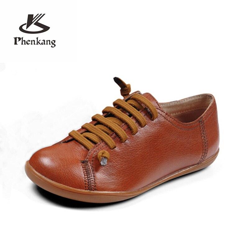 Phenkang Women baleriny slipon flat summer shoes woman ballerina sheepskin Leather casual Group Barefoot woman sneakers