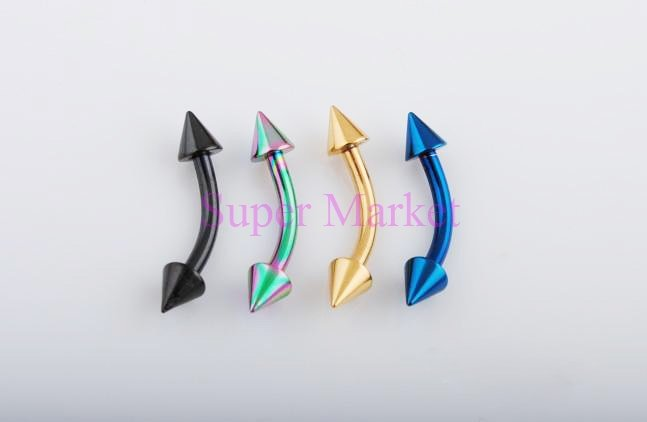 Титановый пирсинг бровей кольцо ювелирные изделия многоцветный 316L конус из нержавеющей стали штанга в бровь 16 Калибр смешанных цветов