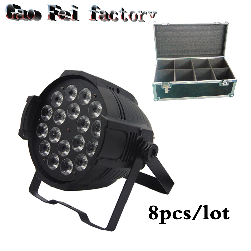 flight case 8pcs/lot Aluminum alloy 18x12W RGBW 4in1 LED Par Can Par64 led spotlight dj stage light