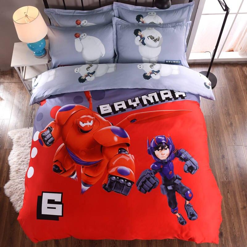 Большой Герой постельные принадлежности с рисунком Baymax 3D одеяло наборы пододеяльники детские мальчики спальня хлопок 600TC мягкий Тканый кра