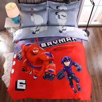 Big Hero Baymax 3D Printed Bedding Comforter Sets Duvet Covers Sheets Children's Boys Bedroom Cotton 600TC Soft Woven Red Color