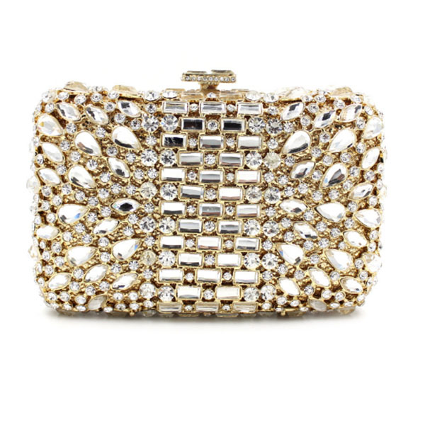 gold crystal Evening Clutch Bag Women Colorful Diamond bag Factory Customized Box Crystal Party Wedding Bridal party purse gift luxury crystal evening box clutch bag with chain gold women evening bag diamond wedding bridal party purse pochette purse