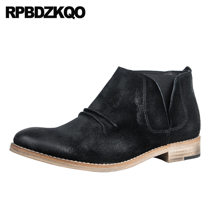 booties runway slip on black suede genuine leather boots luxury chelsea fall autumn 2018 real designer shoes men high quality