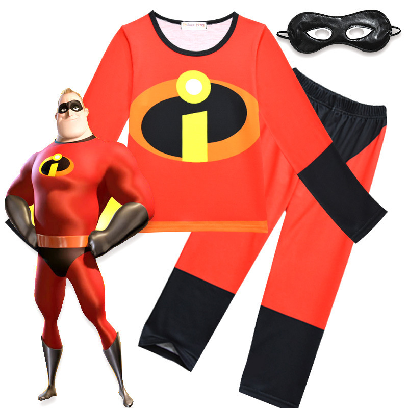 The Incredibles Costume Halloween Costume For Boy Party Cosplay Costume Toddler T-Shirt+Pants +Eye mask Clothing Kids pajamas