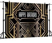 Capisco great gatsby aniversário pano de fundo preto do partido de ouro bandeira photo booth fundo do estúdio bebê recém-nascido chuveiro photocall