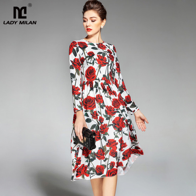 New Arrival 2018 Womens O Neck Long Sleeves Floral Printed High Street Fashion Casual Dresses