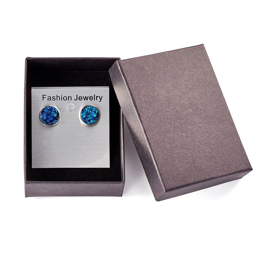 Pandahall 2018 Fashion Resin Druzy Stud Earrings Drusy Faux Handmade Earrings for Women and Girls