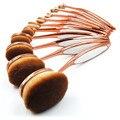 10 unid Oro Rosa Componen Cepillos de Dientes Forma Oval Powder Foundation Brush Pincel de Maquillaje Conjunto Cosméticos Profesional Polivalente Kit