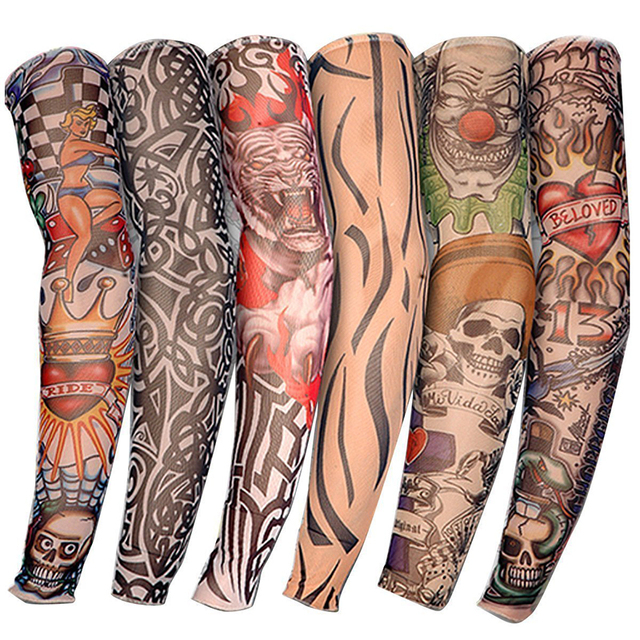 6 PCS New Nylon Elastic Fake Temporary Tattoo Sleeve Designs Body Arm Stockings Tatoo for Cool Men Women Free shipping D01040