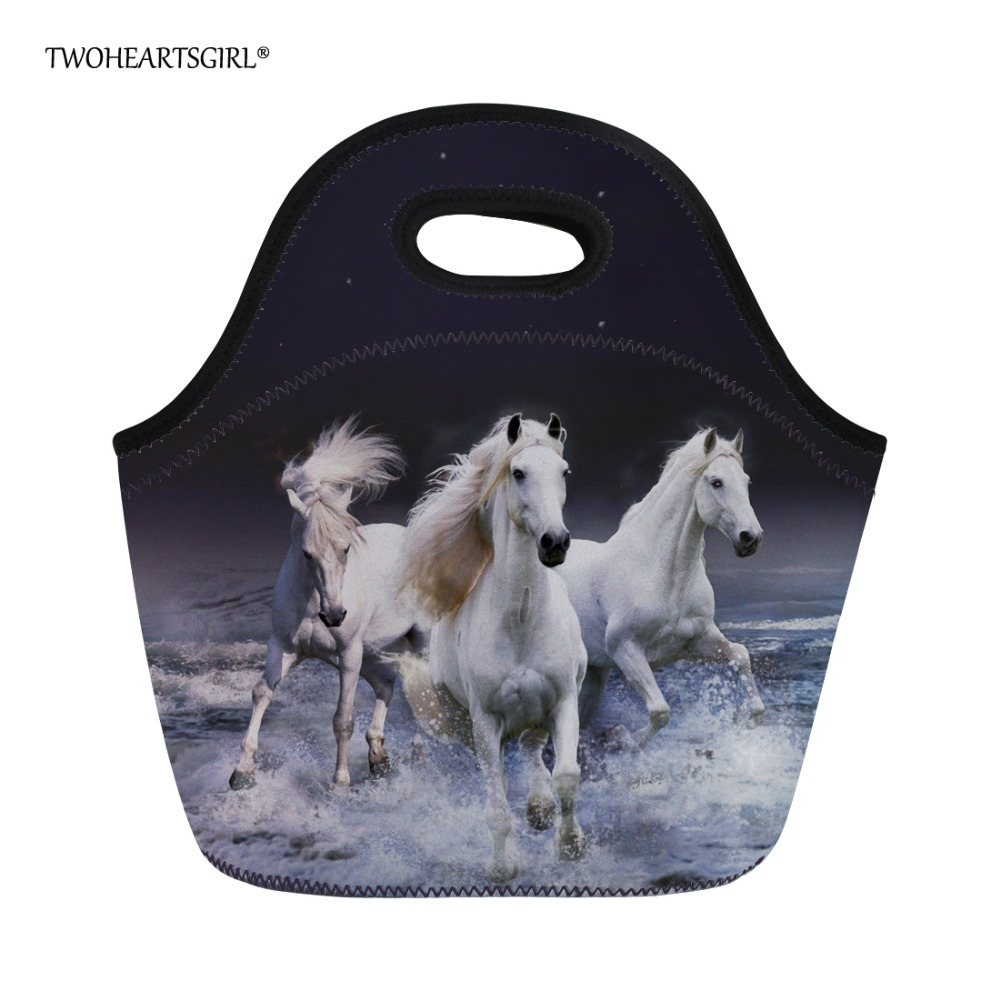 Twoheartsgirl Women Kids Lunch Bag 3d Crazy Horse Tote Lunchbag for Junior Kindergarten Baby Insulated Picnic Food Bags
