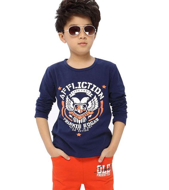 Crianças 2017 novos modelos primavera 100% camisa de algodão menino grande virgens asas t-shirt de manga Comprida meninos roupas