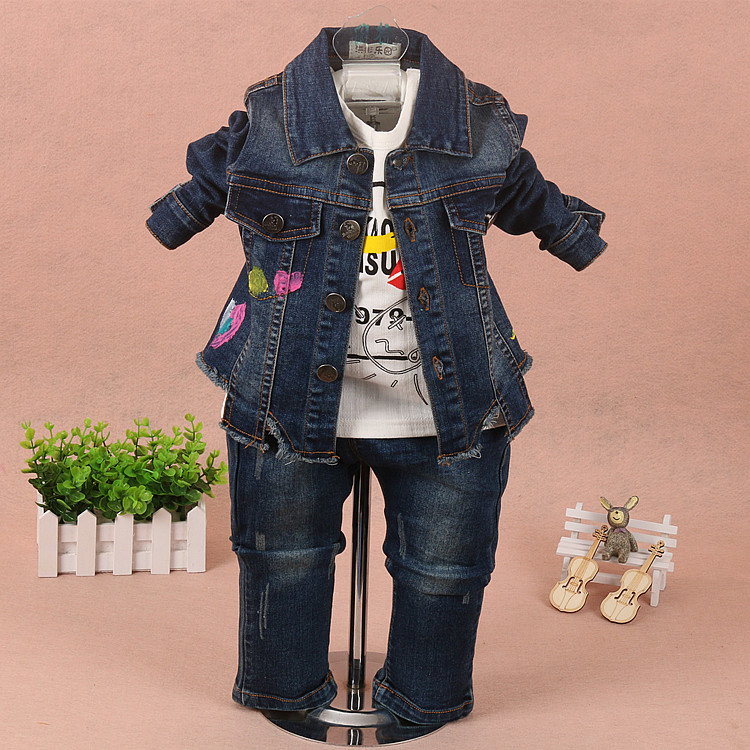 new 2017 autumn girls denim jacket+t shirt+pant clothing sets 3pcs kids clothes sets girls casual suit baby girl jeans