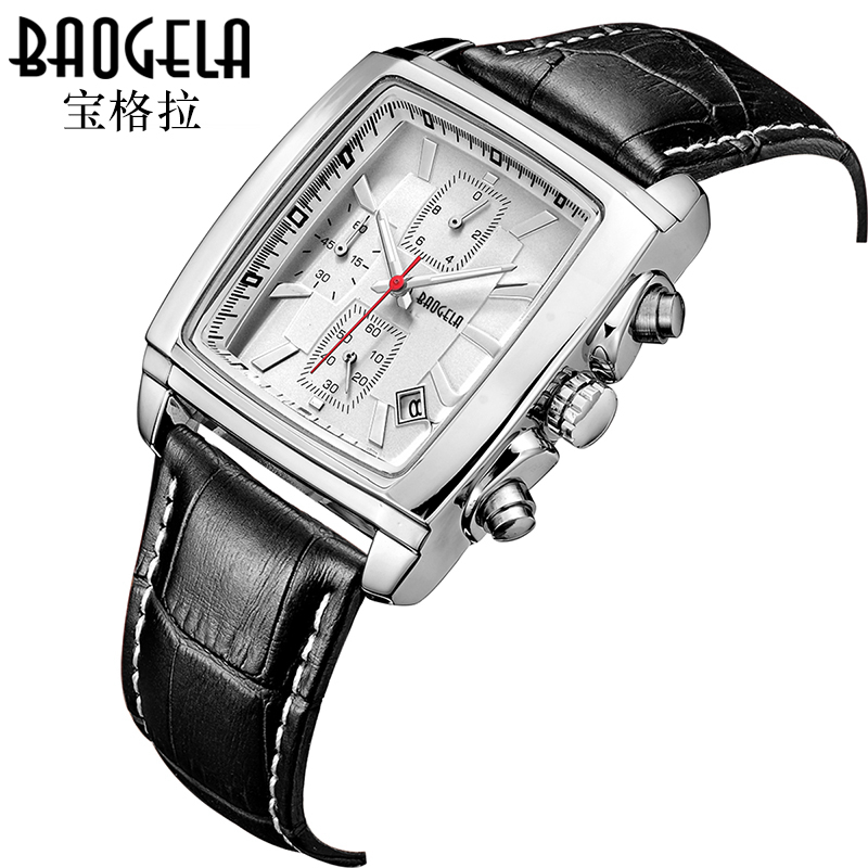 BAOGELA Quartz Men Watches Square Fashion Genuine Leather Business Watch Clock for Gentle Men Male Students Reloj Hombre genuine jedir quartz male watches genuine leather watches racing men students game run chronograph watch male glow hands