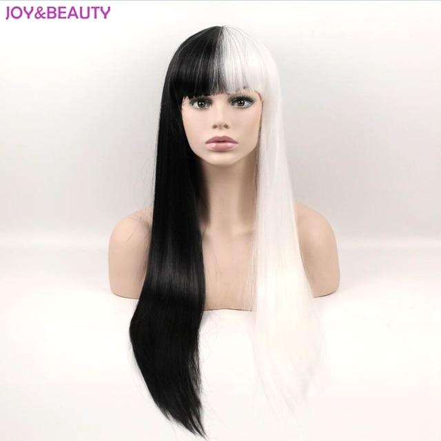 שמחה ויופי שיער שחור/לבן ארוך ישר פאות סינטטי שיער סיבי טמפרטורה גבוהה פאת קוספליי 24 אינץ נשים פאה