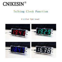 CNIKESIN DIY Digital clock  suite voice timekeeping clock parts LED DIY electronic watch With voice broadcast (color optional)