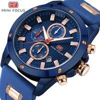 MINI FOCUS mannen Hot Blue Quartz Horloges Leger Sport Siliconen Chronograaf Waterdicht Horloge Man Relogios Lichtgevende 0089G. 04