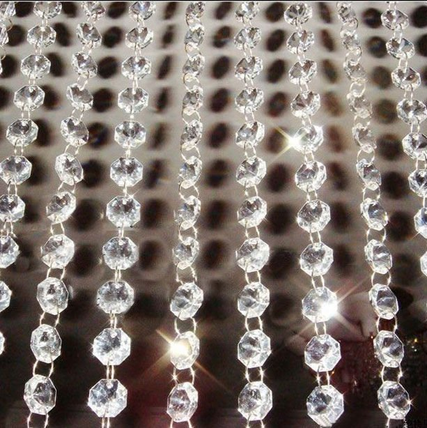 Free shipping! DIY ,AAA Top quality, Nice 14MM Octagon Glass Garland Strands, Crystal beads Curtain,Wedding Decoration(10M/lot)